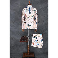voordelige -Roze Patroon Strak Polyester Pak - Smalle inkeping Double breasted Twee Knoops / Patroon / Print / Suits