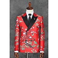 voordelige -Rood Patroon Strak Polyester Pak - Smalle inkeping Double breasted Twee Knoops / Patroon / Print / Suits