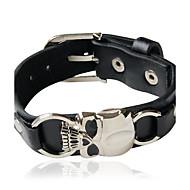 voordelige -Heren Dames Voor Stel Lederen armbanden Schedel Gepersonaliseerde Leder Armband sieraden Zilver / Zwart Voor Dagelijks Causaal