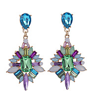 Women's Crystal Drop Earrings Geometrical two stone Drop Ladies European Fashion Elegant Color everyday Rhinestone Gold Plated Earrings Jewelry Rainbow For Daily Casual 1pc