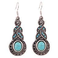 זול -בגדי ריקוד נשים טורקיז עגיל עגילים תלויים אומן פרח נשים אלגנטית בוהמי וינטאג' סגנון מערבי אינדיאני אבן נוצצת מצופה כסף עגילים תכשיטים כחול עבור Party יומי קזו'אל