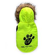 ieftine -Pisici Câine Haine Hanorace cu Glugă Floral / Botanic Keep Warm În aer liber Iarnă Îmbrăcăminte Câini Respirabil Rosu Verde Costume Bumbac XS S M L