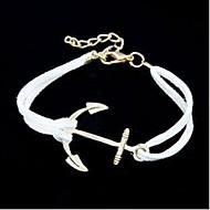 voordelige -Heren Dames Voor Stel Armbanden met ketting en sluiting Anker Gepersonaliseerde Leder Armband sieraden Koffie / Rood / Blauw Voor Dagelijks Causaal Sport