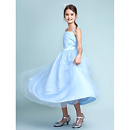 cheap -Ball Gown Straps Knee Length Satin / Tulle Junior Bridesmaid Dress with Beading / Draping / Sash / Ribbon by LAN TING BRIDE® / Spring / Summer / Fall / Wedding Party / Natural