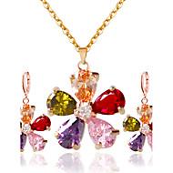 رخيصةأون -نسائي اطقم ذهب و مجوهرات الأقراط مجوهرات قوس قزح من أجل زفاف مناسب للحفلات