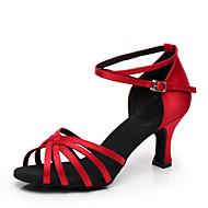 رخيصةأون -نسائي أحذية الرقص ستان أحذية رقص / أحذية سالسا كعب كعب مخصص مخصص أزرق / اللوز / أحمر / EU41