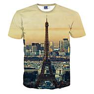 Heren Actief Print T-shirt Grafisch Ronde hals Geel / Korte mouw / Zomer