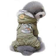 Dog Coat Hoodie Winter Dog Clothes Jade Khaki Costume Cotton Police / Military Cosplay Keep Warm Windproof S M L XL XXL