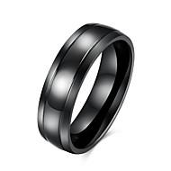 رخيصةأون -رجالي خاتم أسود الفولاذ المقاوم للصدأ الصلب التيتانيوم معدن التنغستن أوروبي مجوهرات الأولية هندسة مناسب للحفلات مناسب للبس اليومي مجوهرات