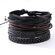 Homme Bracelets en cuir - Cuir Rétro, Punk Bracelet Noir Pour Anniversaire Cadeau Sports