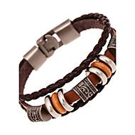 Heren Lederen armbanden Gedraaid geweven Natuur Modieus Leder Armband sieraden Bruin Voor Speciale gelegenheden Lahja Sport