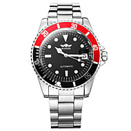 ieftine -WINNER Bărbați Ceas Elegant Ceas de Mână ceas mecanic Mecanism automat Oțel inoxidabil Argint Calendar Luminos Analog Lux Gunmetal Watch - Alb Negru