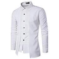 Men's Shirt Solid Colored Basic Slim Tops Chinoiserie Spread Collar White Black Red / Spring / Fall / Long Sleeve