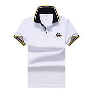 Men's Polo Solid Colored Embroidered Basic Tops Shirt Collar White Blue Yellow / Short Sleeve / Summer