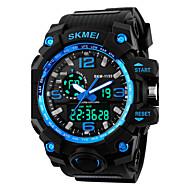 SKMEI Heren Sporthorloge / Modieus horloge / Militair horloge Japans Alarm / Kalender / Chronograaf PU Band Zwart / Waterbestendig / LED / Dubbele tijdzones / Stopwatch / s Nachts oplichtend