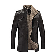 Men's Stand Collar Winter Faux Leather Jacket Regular Solid Colored Daily Plus Size Long Sleeve Black Khaki Brown M L XL