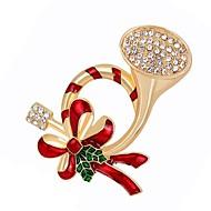 رخيصةأون -نسائي الماس الاصطناعي دبابيس أنيق بروش مجوهرات ذهبي من أجل عيد الميلاد مناسب للبس اليومي