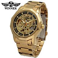 ieftine -WINNER Bărbați Ceas Schelet Ceas de Mână ceas mecanic Mecanism automat Oțel inoxidabil Argint / Auriu 30 m Gravură scobită Analog Clasic Vintage Casual - Auriu Negru / Argintiu Alb / Argintiu