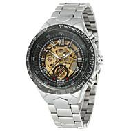 ieftine -WINNER Bărbați Ceas Schelet Ceas de Mână Mecanism automat Oțel inoxidabil Argint 30 m Gravură scobită Analog Vintage Casual Modă - Negru Alb