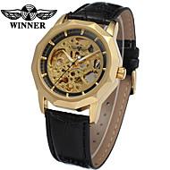ieftine -WINNER Bărbați Ceas Schelet Ceas de Mână ceas mecanic Mecanism automat Piele Negru 30 m Gravură scobită Cool Analog Lux Clasic Vintage Casual - Argintiu Negru și Auriu Auriu / Argintiu