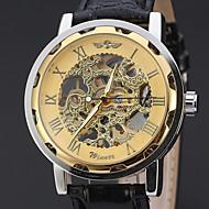 ieftine -WINNER Bărbați Ceas de Mână ceas mecanic Mecanism automat Piele Negru 30 m Gravură scobită Analog Lux Clasic Casual - Negru / Argintiu Alb / Argintiu Aur / argint / negru