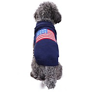 Cat Dog Costume Coat Sweater Winter Dog Clothes Blue Costume Spandex Linen&Cotton Blend Chinlon Flag American / USA Casual / Daily Keep Warm Wedding XXS XS S M L XL