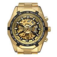 ieftine -WINNER Bărbați Ceas Schelet Ceas de Mână Mecanism automat Oțel inoxidabil Auriu 30 m Gravură scobită Analog Clasic Casual Modă Ceas Elegant - Auriu Alb Negru