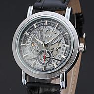 ieftine -WINNER Bărbați Ceas Schelet Ceas de Mână ceas mecanic Mecanism automat Piele Negru / Maro 30 m Gravură scobită Analog Clasic Vintage Casual - Negru Negru / Maro Alb / Bej / Oțel inoxidabil