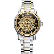 ieftine -WINNER Bărbați Ceas Schelet Ceas de Mână ceas mecanic Mecanism automat Oțel inoxidabil Argint 30 m Gravură scobită Cool Analog Lux Clasic Vintage Casual - Auriu Negru