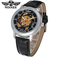 ieftine -WINNER Pentru femei Ceas Schelet Ceas de Mână ceas mecanic Mecanism automat Piele Negru 30 m Gravură scobită Analog Clasic Casual Elegant - Alb Negru