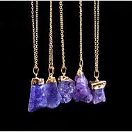 Dames Kristal Hangertjes ketting ongeslepen diamant Dames Eenvoudig Elegant energie Steen Metaal Roze Turkoois Transparant Kettingen Sieraden Eén paneel Voor Dagelijks Formeel