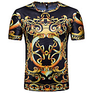 Men's T-shirt Graphic Tribal Print Tops Basic Vintage Round Neck Black / Short Sleeve