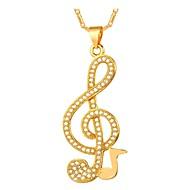 ieftine -Coliere cu Pandativ Muzică Notă Muzicală femei Modă Articole de ceramică Auriu Argintiu 55 cm Coliere Bijuterii Pentru Zilnic