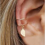 זול -בגדי ריקוד נשים עגילי קליפס חפתים אוזן עגיל אחד גיאומטרי Leaf Shape הצהרה נשים Small עגילים תכשיטים זהב / כסף עבור מסיבת ערב רחוב 1pc