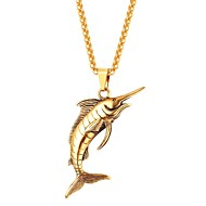 ieftine -Coliere cu Pandativ Pești Animal Modă Teak Negru Auriu Argintiu 55 cm Coliere Bijuterii Pentru Zilnic