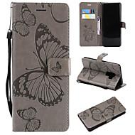 Кейс для Назначение SSamsung Galaxy S9 / S9 Plus / S8 Plus Кошелек / Бумажник для карт / со стендом Чехол Бабочка Твердый Кожа PU