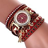 Damen Uhr Armband-Uhr Diamond Watch Quartz Gestepptes PU - Kunstleder Schwarz / Weiß / Blau Armbanduhren für den Alltag lieblich Imitation Diamant Analog Heart Shape Böhmische Braun Rot Blau