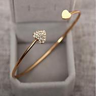 ieftine -Pentru femei Zirconiu Cubic diamant mic Brățări Bangle Brățări Bantă Inimă Iubire Prietenie femei Simplu De Bază Modă De Fiecare Zi Ștras Bijuterii brățară Auriu / Argintiu Pentru Nuntă Petrecere Zi