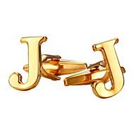 ieftine -Μανικετόκουμπα Alphabet Shape Metalic Oficial Broșă Bijuterii Auriu Argintiu Pentru Cadou Zilnic