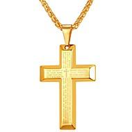 ieftine -Bărbați Coliere cu Pandativ Stil Vintage De-a curmezișul Σταυρός Inspirațional Hip Hop Teak Negru Auriu Crucea cu dungi de aur Crucea cu dungi negre Crucea de Zircon de Aur 55 cm Coliere Bijuterii 1