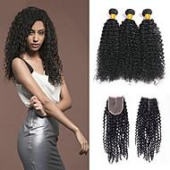povoljno -3 paketi s zatvaranjem Kinky Curly Virgin kosa Remy kosa Ljudske kose plete Bundle kose Jedan Pack Solution 8-20 inch Prirodna boja Isprepliće ljudske kose Sigurnost Novi Dolazak Cool Proširenja