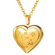 ieftine -Pentru femei Coliere cu Pandativ Lung Gravat Medalion Inimă femei Romantic Modă Articole de ceramică Auriu Argintiu 55 cm Coliere Bijuterii 1 buc Pentru Cadou Zilnic