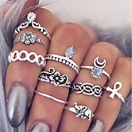 Žene Prstenasti set Midi prstenje Prstenovi koji se mogu slagati 10pcs Srebro Legura Circle Shape dame Jednostavan Jedinstven dizajn Dnevno Spoj Jewelry Više slojeva Kereszt Cvijet Slatko