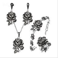 povoljno -Žene Kubični Zirconia Vintage ogrlica Vintage Style Cvijet dame Vintage Titanium Steel S925 Sterling Silver Naušnice Jewelry Sive boje Za Vjenčanje Dnevno Večer stranka Maškare Zaručnička zabava Prom