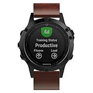 voordelige -Horlogeband voor Fenix 5 / Fenix 5 Plus / Garmin Quatix 5 Garmin Leren lus Echt leer Polsband