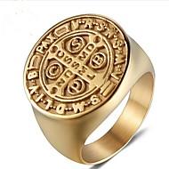 povoljno -Muškarci Midi prsten Pečatni prsten 1pc Zlato Titanium Steel Circle Shape Vintage Party Dnevno Jewelry Retro Graviranog Kreativan obiteljski grb Cool