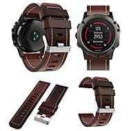 voordelige -Horlogeband voor Fenix 5x / Fenix 5x Plus / Fenix6X Garmin Leren lus Echt leer Polsband