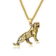povoljno -Muškarci Ogrlice s privjeskom Sa stilom franko lanac Tigar Moda Titanium Steel Zlato Pink 55 cm Ogrlice Jewelry 1set Za Dar Dnevno