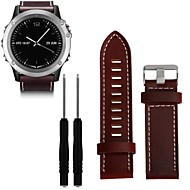 voordelige -Horlogeband voor Fenix 3 HR / Fenix 3 Sapphire / Fenix 3 Garmin Leren lus Echt leer Polsband