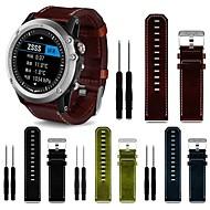 voordelige -Horlogeband voor Fenix 3 / Garmin Tactix / Garmin Descent Mk1 Garmin Leren lus Echt leer Polsband